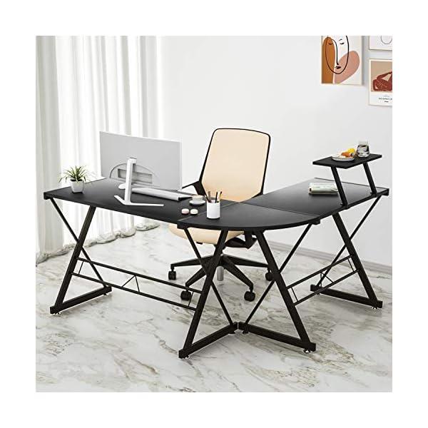 Maxzzz Bureau d'Angle en Forme de L, Table Informatique Robuste en Bois Montage Simple avec Étagère à Écran Réglable…