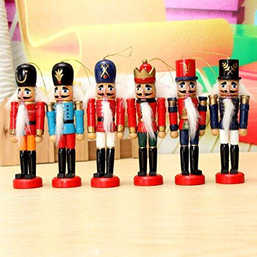 SICA 6pcs Wooden Nutcracker Puppet Decorations Handcraft Gifts Home Display