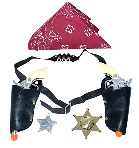 Western Cowboy Gun Set with Red Bandanna, Gold and Silver Badge 1 of each item by Imprints (Big Tex Holster)