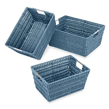 Whitmor Rattique Storage Baskets, Set of 3, Blue