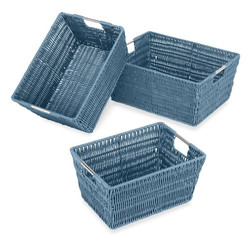 Whitmor Rattique Storage Baskets Set of 3, Berry Blue