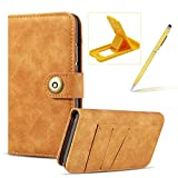 Herzzer Brown Leather Case for iPhone Xs Max,Flip Wallet Cover for iPhone Xs Max, Classic Retro Solid Color Design Magnetic Button Closure Multifunction Folio Stand Cover with Card Slot PC Hard Case