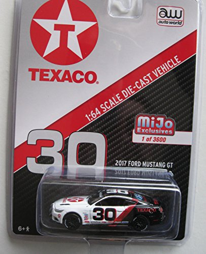 Autoworld CP7438 2017 Ford Mustang GT Texaco Racing #30 Black and White Limited Edition to 3600pcs 1/64 Diecast Model Car
