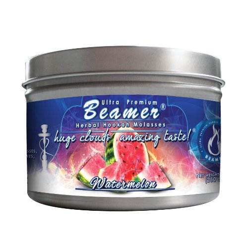 Watermelon Beamer® Ultra Premium Hookah Molasses 250 gram tin. Huge Clouds, Amazing Taste!® 100 % Tobacco, Nicotine & Tar Free but more taste than tobacco! Compares to Hookah Tobacco at a fraction of the price! GREAT TASTE, LOTS OF SMOKE & SMELLS GREAT!!! Proudly made in the USA!
