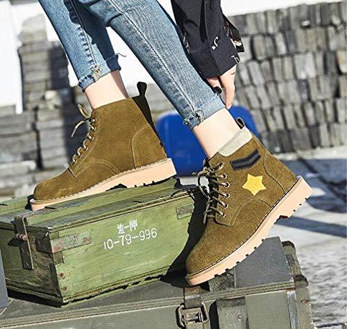 inverno Comfort In Dimensione colore Stivaletti Flat Martin Donna Army Guida Casual Green Pelle Stivali Da 37 Autunno Scarpe Cavaliere Hy Sand v0FSx