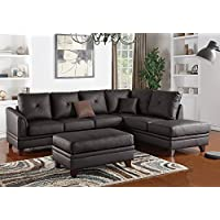 1PerfectChoice L Shaped Sectional Sofa Chaise Ottoman Set Tufted Brown Top Grain Leather Match