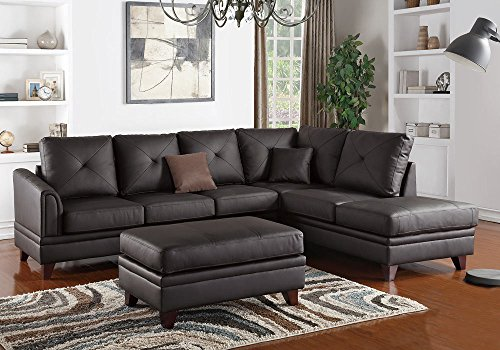 1PerfectChoice L Shaped Sectional Sofa Chaise Ottoman Set Tufted Brown Top Grain Leather Match by 1PerfectChoice