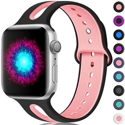 Haveda Sport Bands Compatible for Apple Watch 38mm/40mm, Breathable Silicone Bands for Apple Watch 4, iWatch Series 4/3/2/1, Women Men Kids 38mm/40mm M/L Black/Pink