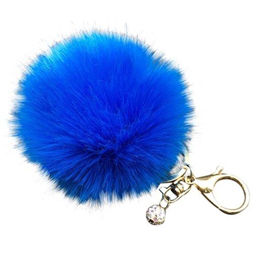 Sapphire Handbag - Cute Key Chain DZT1968 Fluffy Faux Rabbit Fur Ball Charm Car Keychain Handbag Key Ring (Sapphire Blue)