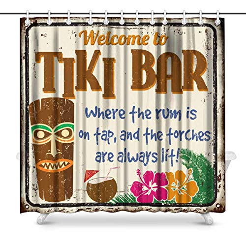 (InterestPrint Hawaiian Welcome to Tiki Bar Vintage Rusty Metal Sign Waterproof Shower Curtain Decor, Fabric Bathroom Set with Hooks, 72(Wide) x 72(Height) Inches)