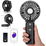 Portable Handheld Fan DOIOWN USB Mini Table Desk Personal Fan with 4000mAh Rechargeable Power Bank For Travel Outdoor Pool Car Desk (4000mAh portable charger&black)