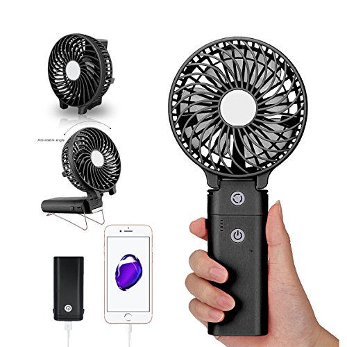 Portable Handheld Fan DOIOWN USB Mini Table Desk Personal Fan with 4000mAh Rechargeable Power Bank For Travel Outdoor Pool Car Desk (4000mAh portable charger&black) by DOIOWN