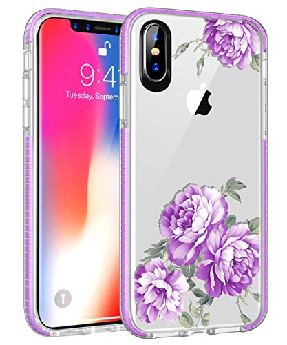 iPhone XS Max Case, Hocase Slim Fit Protection Soft TPU+Embedded Shock Absorbent Rubber Bumper Hybrid Protective Clear Phone Case for iPhone XS Max (2018) w/ 6.5-inch Display - Lavender Purple Peony