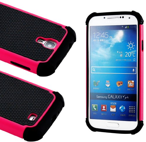 """myLife Black and Hot Pink - Classic Rugged Design (2 Piece Hybrid Bumper) Hard and Soft Case for the Samsung Galaxy S4 """"Fits Models: I9500, I9505, SPH-L720, Galaxy S IV, SGH-I337, SCH-I545, SGH-M919, SCH-R970 and Galaxy S4 LTE-A Touch Phone"""" (Fitted Back Solid Cover Case + Internal Silicone Gel Rubberized Tough Armor Skin)"""