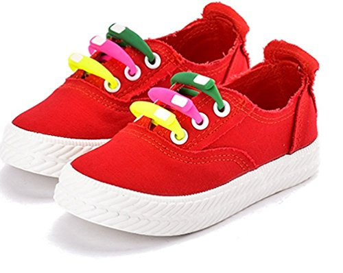 Price comparison product image Orlando Johanson New Girls Cute Colorful Shoelaces Puncture-Resistant Soft Canvas Sneakers Red 3.5 M US Big Kid Comfortable