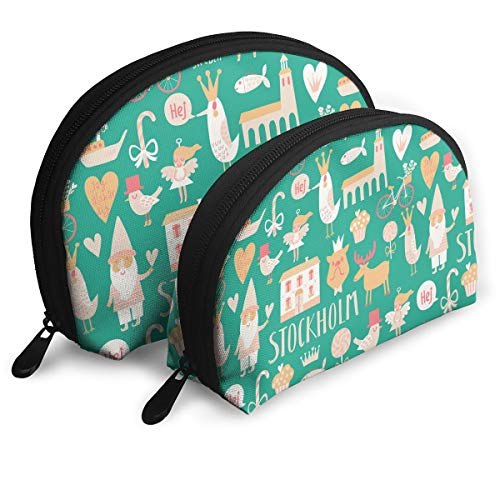 - 2 PCS Stylish Stockholm Concept Pattern Toiletry Bag - Multifunction Cosmetic Bag Portable Makeup Pouch Waterproof Travel Hanging Organizer Bag Beauty Bag for Women & Girls