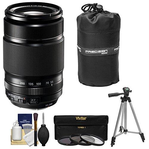Fujifilm 55-200mm f/3.5-4.8 XF R LM OIS Zoom Lens + 3 UV/CPL/ND8 Filters + Pouch + Tripod Kit for X-A2, X-E2, X-E2s, X-M1, X-T1, X-T10, X-Pro2 Cameras