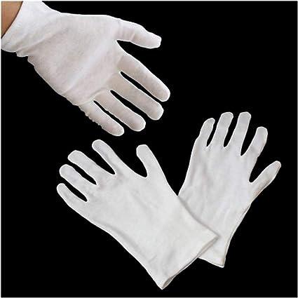 12 pares de guantes Hand ® GL1 blancos, para monedas, joyería, inspección, guantes de algodón - tamaño mediano, adaptable, peso ligero: Amazon.es: Oficina y papelería