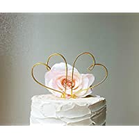 2 Hearts Wedding Cake Topper in GOLD Wire Finish, Wedding Cake Decoration by AntoArts