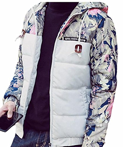 Winter Patchwork Jacket Floral Puffer Down White Mens Hot Warm UK Hooded Brd Coat qxZvftY