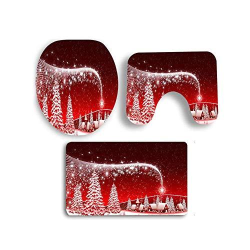 KUDIAN Alfombra de baño Rojo Set 3 Piezas Antideslizante Navidad Franela Blanda Estilos Multiples Baño Hotel,Redsnowtree