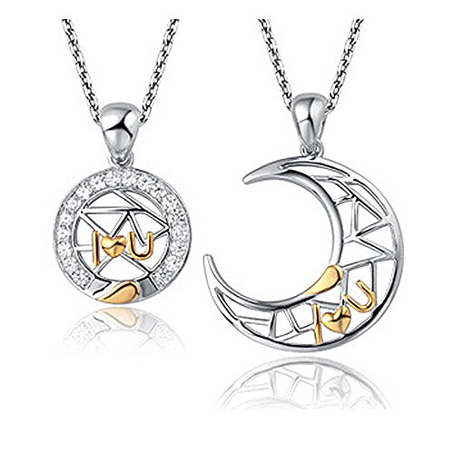 925 Silver Moon Necklace Two Piece Jewelry Set Pendant For Couples Friends Women Teen Girls