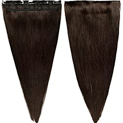 "s-noilite 16"" 45g 3/4 Full Head 1 Piece 5 Clips Clip in Remy Human Hair Extensions Silky Straight #2 Dark Brown"