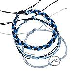 Gessppo 3pcs Women Girl Adjustable Boho Bangle Chain Turquoise Beads Sea Turtle Beach Sandal Ankle Woven Rope Bracelet
