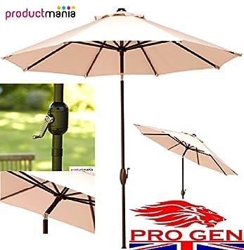 PROGEN 2,7 m paraguas Patio jardín sombrilla elevador & inclinación marca nueva crema