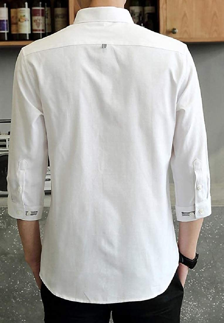 Comaba Mens Tops Button-Down Fashion Slim Fitting Lapel Business Shirts
