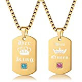 Uloveido Yellow Gold Color Couples A Pair of His Queen & Her King Match Necklaces for Men and Women - Titanium Stainless Steel Square Dog Tag Pendant Necklace with 48cm and 58cm Chain SN118