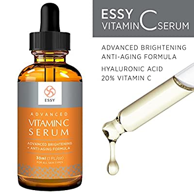 Essy Beauty Vitamin C Facial Serum for Face, Organic Anti-Aging Topical Facial Serum with Hyaluronic Acid, 1 fl oz