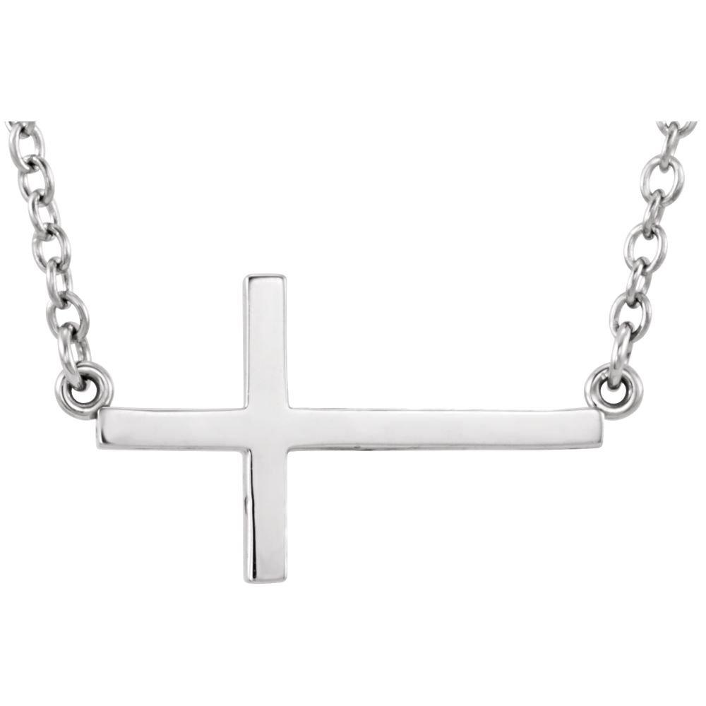 Sterling Silver Sideways Cross 16-18 Necklace