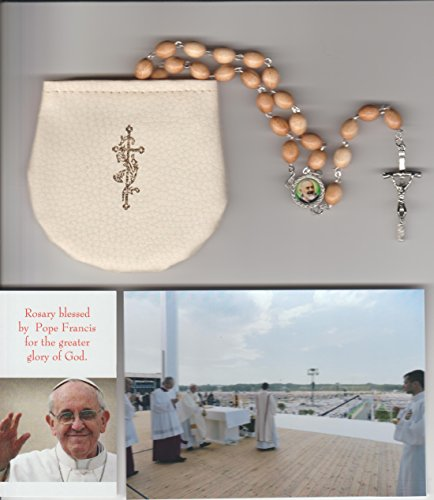 Saint Padre Pio Beige Relic Rosary Blessed by Pope Francis on July 31, 2016 at WYD in Krakow Poland Patron of Healing and Miracles