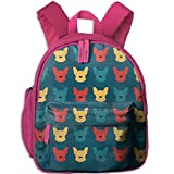 Frenchie Lover Printed Kids School Backpack Cool Children Bookbag Pink
