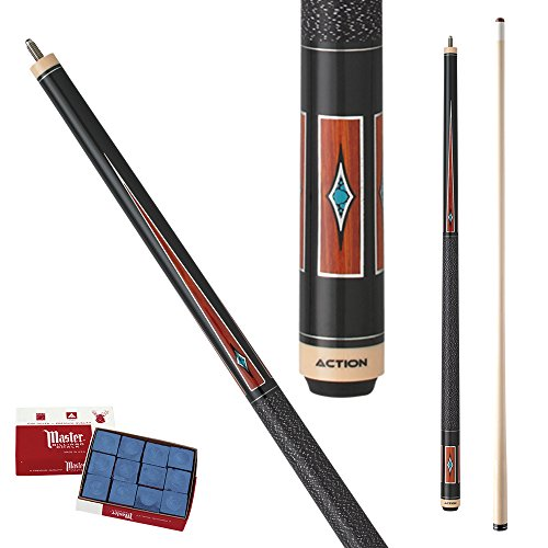 - Action Exotic ACT141 Black with Cocobolo floating points & Turquiose diamonds Pool Cue Stick with 12 pieces of Master Billiard Chalk (20)
