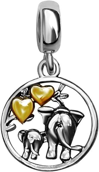 JMQJewelry Heart Love Elephant 3 Colors Charms Dangle Beads Bracelets