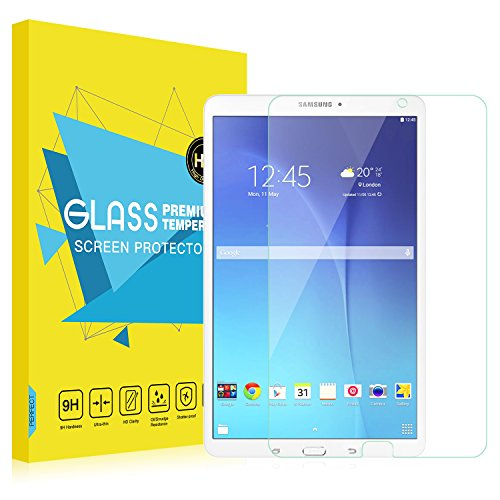 MoKo Galaxy Tab E 9.6 Screen Protector, [Scratch Terminator] Premium HD Clear 9H Hardness Tempered Glass Film for Samsung Tab E/Tab E Nook 9.6 Inch Tablet (Fit Both WiFi and Verizon 4G LTE Version)