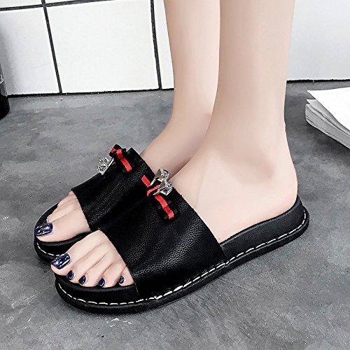 RUGAI-UE Zapatillas planas Verano Playa ocio Zapatos nudo mariposa zapatillas Calzado Antideslizante Black