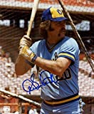 GORMAN THOMAS AT BAT MILWAUKEE BREWERS SIGNED AUTOGRAPHED 8X10 PHOTO W/COA