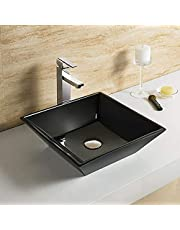 Bathroom Sink, Vessel Sink Porcelain Above Counter White Countertop Sink for Lavatory Vanity Cabinet Contemporary Style