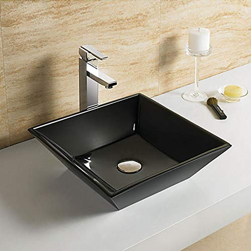 Above Counter Black Square Porcelain Ceramic Bathroom Vessel Sink (E-CL-1061-C2)