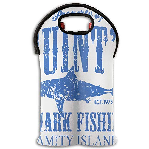 (XZX2018 Quints Shark Fishing Amity Island Insulated Thick Neoprene 2-Bottle Wine Carrier Tote Bag Water Bottle Holder with Secure Carry Handle Keeps Bottles Protected)