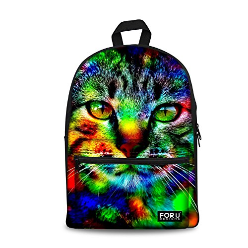 FOR U DESIGNS Cute Camo Cat Canvas Backpack Animal Style Schoolbag Book Bag for Kids
