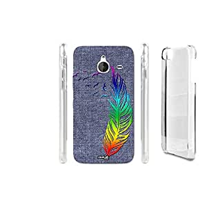 FUNDA CARCASA EFECTO JEANS FEATHER RAINBOW PARA NOKIA LUMIA 640 XL