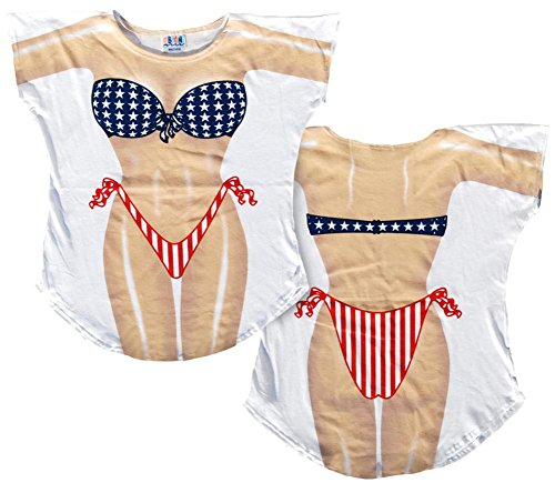 Stars & Stripes Bikini Cover-Up T-Shirt Size - Funny Bikini Shirt