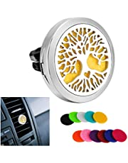 HooAMI Car Diffuser Essential Oil Car Vent Clip Air Freshener Purifier,Stainless Steel Aromatherapy Locket with 12 Refill Pads