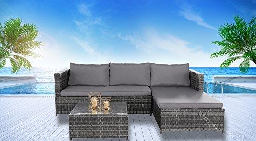 Magari Furniture SJ-14066 Complete 3 Piece PE Wicker Rattan Pool Patio Garden Set with Cushions, Grey by Magari Furniture