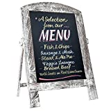 Standing Vintage Small Framed Tabletop Kitchen Chalkboard,Mini Kitchen Easel-Style Dry Erase Chalk Board Sign for Rustic Wedding Decor (White, 14x9)