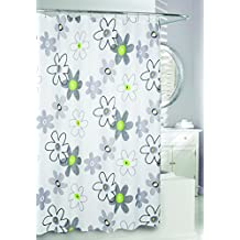 Moda at Home 204379 Whimsy Water Repellent Fabric Shower Curtain, 71-Inch X 71-Inch, Ivory, Black, Grey and Green